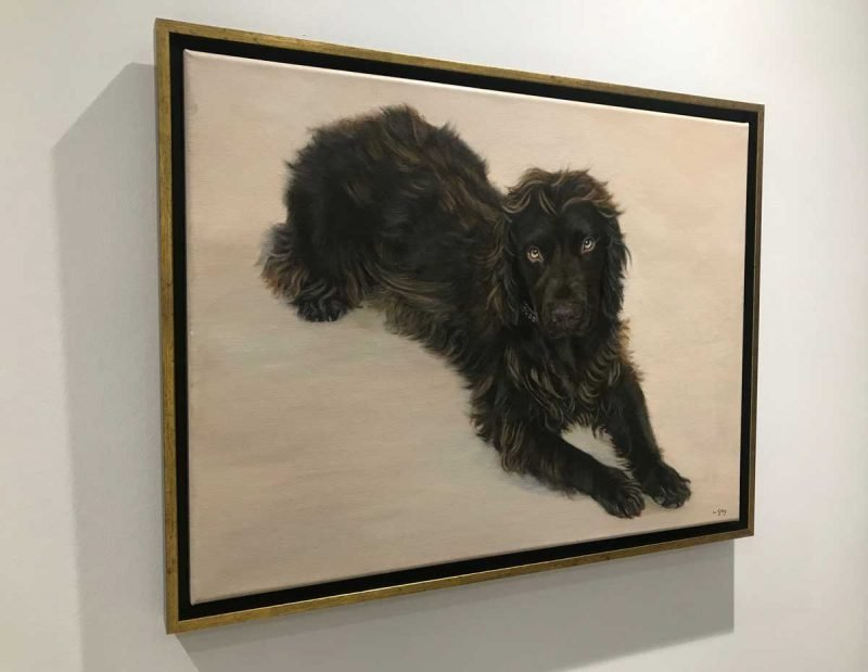 Framed oil painting of a Chocolate Cocker Spaniel
