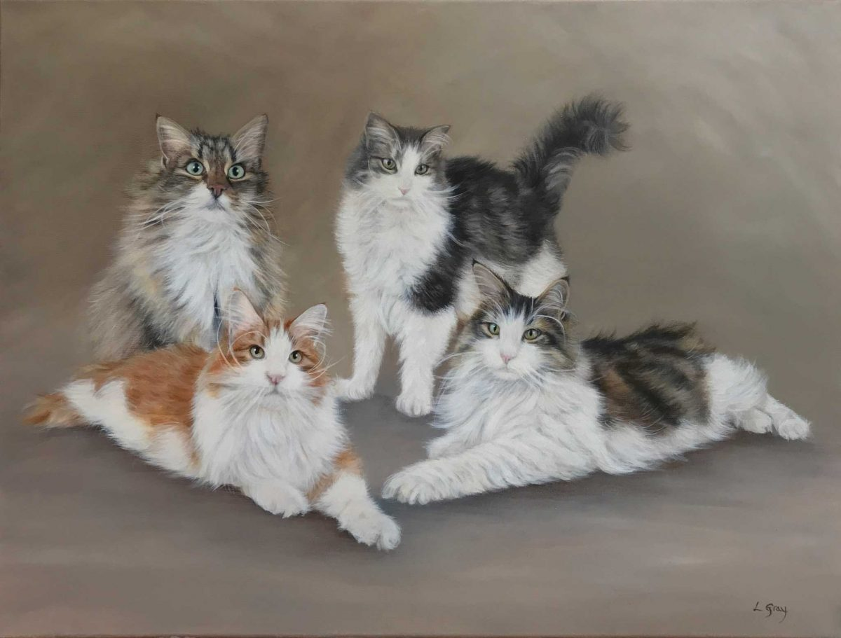 cat portraits in oils